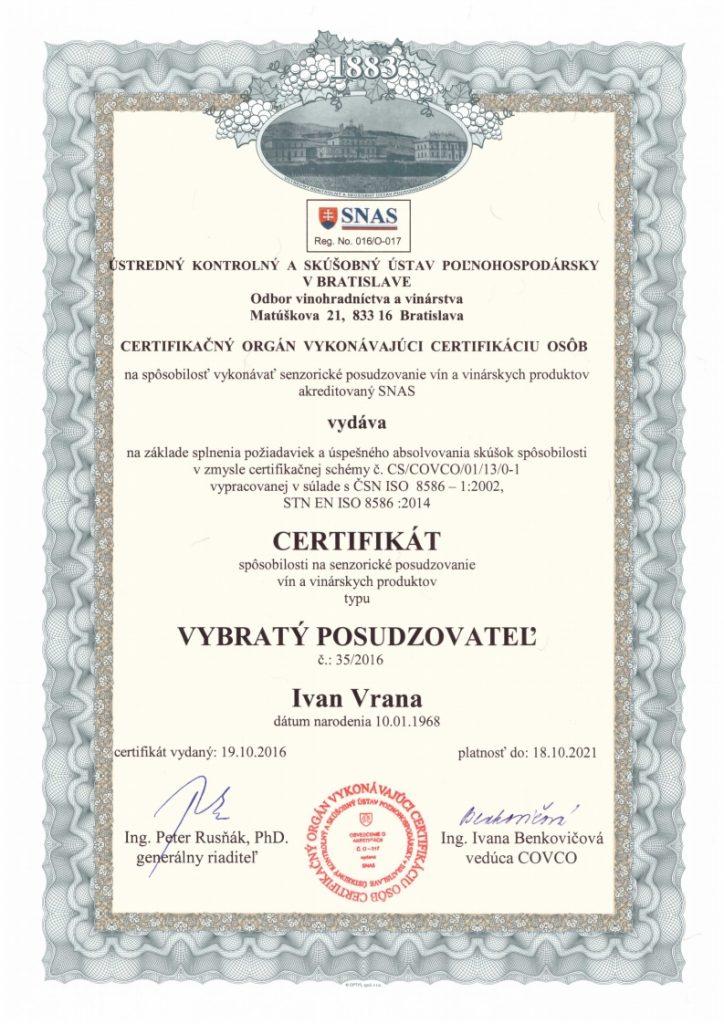 certifikat degustatora